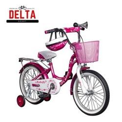 """Детский велосипед Delta Butterfly 16"""" цвет розовый со шлемом, с передним ручным тормозом, клаксоном, корзиной"""