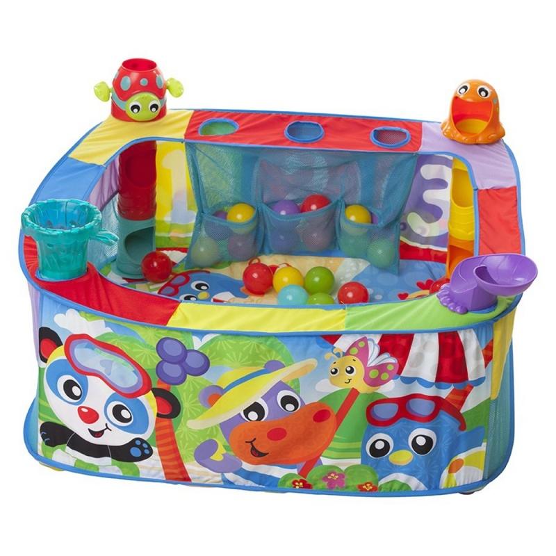 Детский развивающий коврик Playgro 0186366 Pop and Drop Activity Ball Gym + 30 мячиков